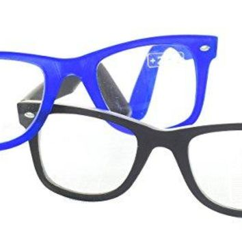 Blue Black Geek Nerd Clear Reading Glasses 2.50