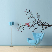 Vinyl Wall Decal Sticker Art Love Birds on a by wordybirdstudios