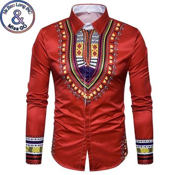 Men's Hipster African Dashiki Printed Dress Shirts 2018 New Fashion Casual Slim Fit Long Sleeve Brand Shirt Men Camisa Hombre