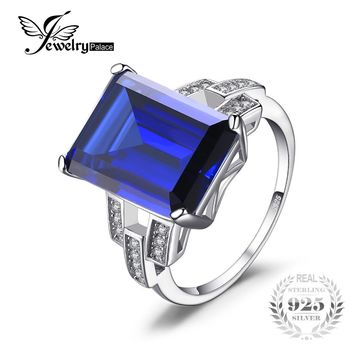 Jewelrypalace Luxury Emerald Cut 9.6ct Created Blue Sapphire Cocktail Ring Genuine 925 Sterling Silver Stylish New Brand