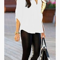 White Chiffon Semi Sheer Top 3/4 Tab Sleeve V Neck Collar Tunic Top Blouse