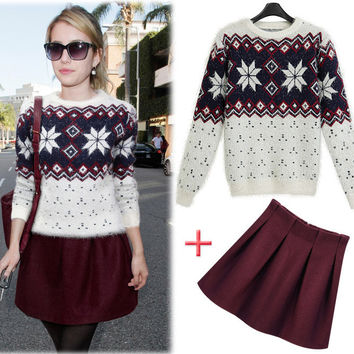 Scoop Thickening Mohair Pullover Sweater Pleated Skirt Dress Set