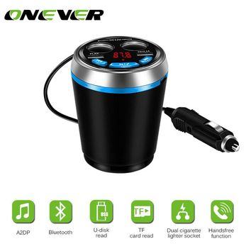 Onever Bluetooth FM Transmitter Car Music MP3 Player Hands Free Car Kit Cup Holder Cigarette Lighter USB Power Adapter Splitter