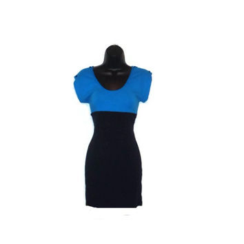 Short Sleeved Black and Blue Mod Inspired Dress with Black Stud Buttons Womens Clothing Large