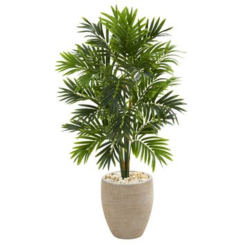 Artificial Tree -4 Foot Areca Beautiful Palm Tree with Sand Colored Planter