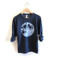 Full Moon  Drop Shoulder Hand Stenciled Crew Neck by twostringjane