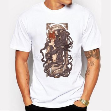 Hot sales zombie design skull printed men's customized t-shirt male punk style halloween tops hipster fashion cool tee