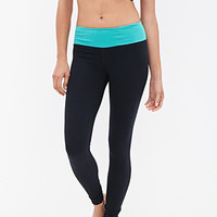 FOREVER 21 Colorblocked Yoga Leggings Black/Jade X-Small