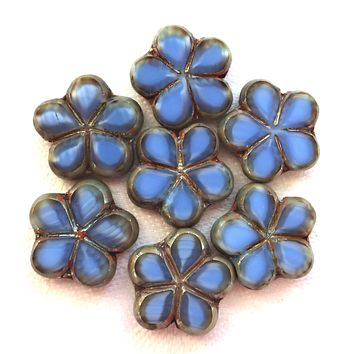 Lot of five 17mm table cut, carved,opaque, marbled denim blue with silver picasso accents, Czech glass flower beads C51105