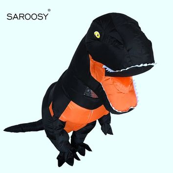 SAROOSY New T-rex Cosplay Inflatable Costumes for Adult Halloween Party Inflated Garment with Free Fan and Battery Case