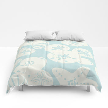 Cream Seashells on Aqua Comforters by Noonday Design