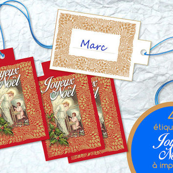 Joyeux Noël Printable Label Xmas Ready to Print Holidays Snowman Digital Red Hang Gift Party Favor Tag Nametag Instant Print Download