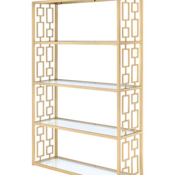 ACME Blanrio Etagere Bookcase in Clear Glass and Gold