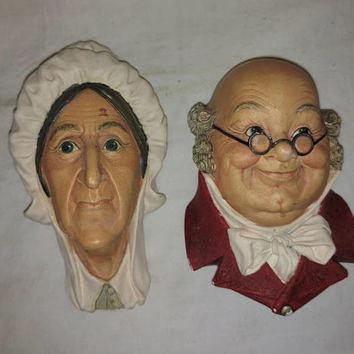 Pair of Bosson's Chalkware Heads Mr Pickwick and Betsey Trotwood