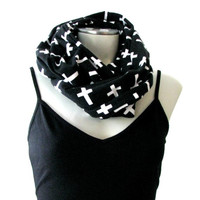 Cross Print Infinity Scarf, black and white, stretchy jersey knit loop scarf