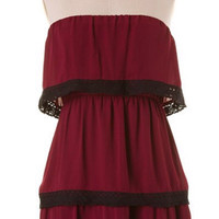 Three Tiers to You Dress - Burgundy