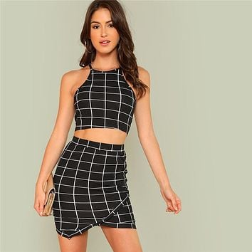 Elegant Black and White Office Lady Workwear Women Two Piece Set Outfits Plaid Grid Crop Halter Top Wrap Skirt Set