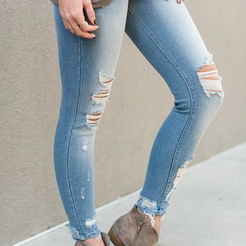 Worn Distressed Skinny Jeans