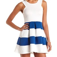 Racer Front Striped Skater Dress