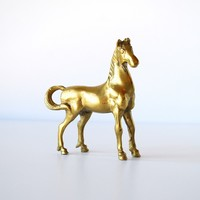 Brass Vintage Horse Figurine - Small