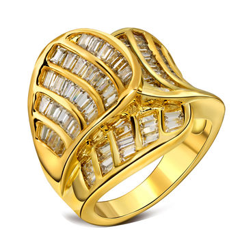 New Trendy Leaf Design With AAA Cubic Zircon Big Wedding Rings For Women Fine Jewelry Fashion Crystal Bijoux