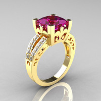 French Vintage 14K Yellow Gold 3.8 Carat Princess Amethyst Diamond Solitaire Ring R222-YGDAM
