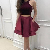 Cheap 2 Pieces Simple Short Burgundy Satin Homecoming Dresses For Teens OKD19