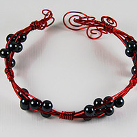 Red Bangle Bracelet, Red Wire and Black Pearls Cuff Bracelet, Adjustable Red Bangle
