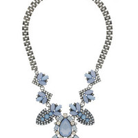 Blue Stone Jewelled Necklace - Blue