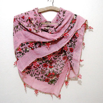 Dusty rose pink Vintage needle crochet cotton fabric shawl, Mothers day gift for her