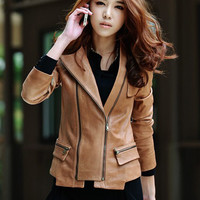 'The Karen' Brown Long Sleeve Leather  Jacket