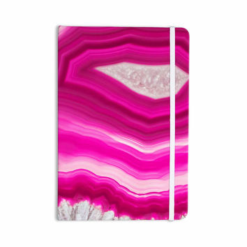 "Cafelab ""Bold Pink Agate "" Pink White Everything Notebook"