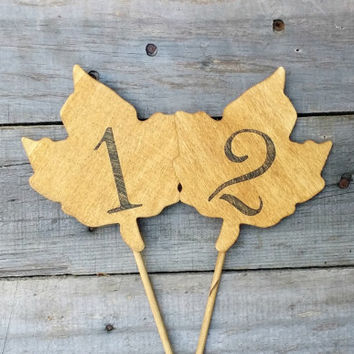 10 Rustic Wooden Autumn Leaf Table Numbers, Rustic Fall Wedding Decor, Autumn Wedding, Wedding Centerpiece