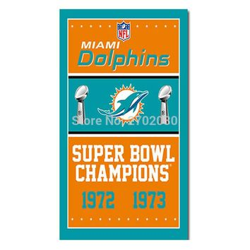 Miami Dolphins Flag Team Champions Fan Banners 3ft X 5ft Miami Dolphins Banner 1972 1973