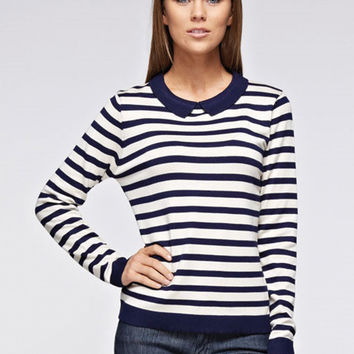 Studious Blue and White Collared Sweater