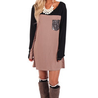 Mocha Blocked Dress with Sequin Pocket