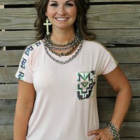 Let Em Shine On Light Pink Tee with Aztec Sequin Detailing and Pocket