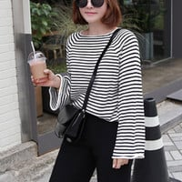 Striped Knit Long Sleeve Top - Miamasvin loves u! Womens Clothing. Korean Fashion.