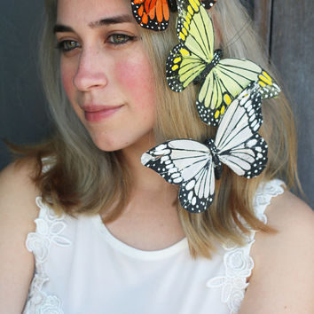 Monarch Butterfly Hair Clips (Comb Clip Gypsy Hippie Boho Beach Wedding Bride Bridal Music Festival Butterflies Bridesmaids Headpiece Fairy)