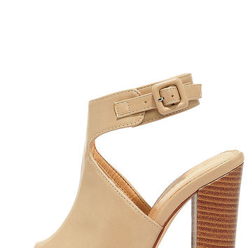 Somehow Someway Beige Peep-Toe Booties