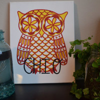 11x14 Canvas Chi Omega Owl