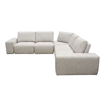 Jazz Modular 5-Seater Corner Sectional with Adjustable Backrests in Light Brown Fabric