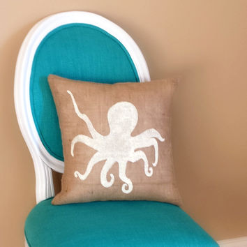 Octopus Burlap Pillow,Nautical, Coastal Decor, Beach House, Beach Decor,Home,Ocean,Sea Creatures,Christmas Gift, Gift for Her, Gift for Mom