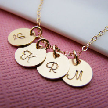 Gold initial necklace - tiny gold initial disc necklace - gold filled initial necklace - gold filled jewelry - custom initial necklace