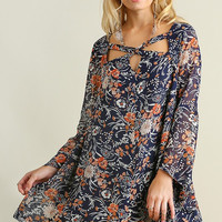 Criss Cross Fall Dress - Navy
