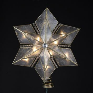 """10.5"""" Lighted 6 Point Gold Painted Capiz Star Christmas Tree Topper - Clear Lights"""