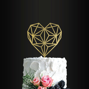 Wedding Cake Topper, Geometric Heart, Cake Topper, Wedding Cake Decor