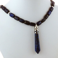 Lapis Point Pendant with Lapis Lazuli Necklace
