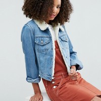 ASOS Denim Shrunken Borg Jacket in Tammy Midwash Blue at asos.com