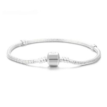 2018 High Quality Silver Snake Chain 17-21cm Fits Pandora Bracelet Charm Bead Jewelry Gift For Men Women Accessories